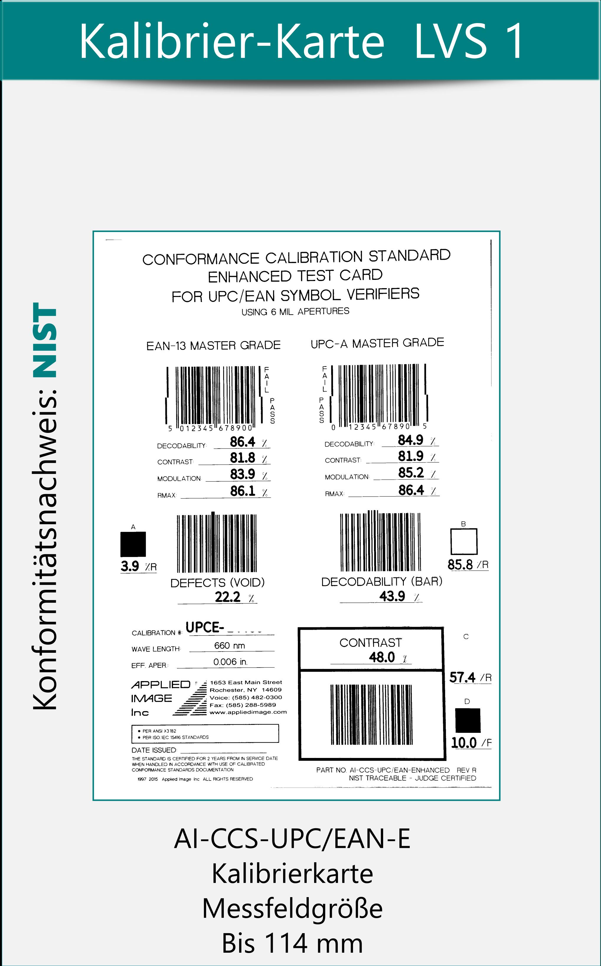 Kalibrierkarte LVS 1 zur Codeprüfung